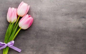 цветы, букет, тюльпаны, розовые, красива, тульпаны, цветы, парное, весенние, пинк