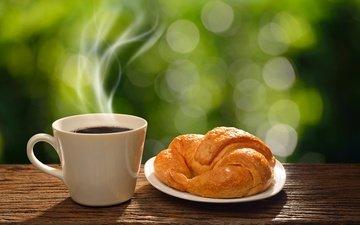 утро, кофе, чашка, завтрак, круассан, горячая, доброе утро, coffee cup