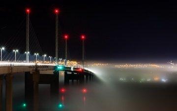 огни, туман, мост, транспорт, шотландия, kessock, into the mist, кесок