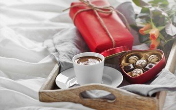 roses, coffee, candy, heart, love, breakfast, gift, chocolate, romantic, valentine's day, конфеты1
