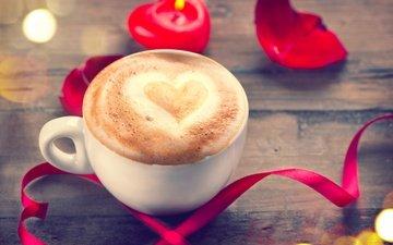 розы, лепестки, кофе, сердце, любовь, свеча, романтик, день святого валентина, роз, влюбленная, сердечка, valentine`s day
