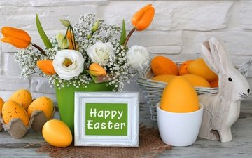flowers, tulips, easter, yellow, eggs, decoration, spring, happy, the painted eggs