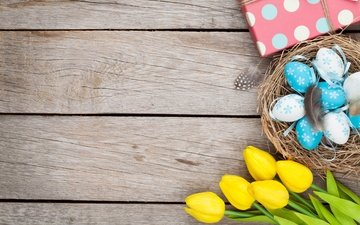 tulips, easter, yellow, wood, eggs, decoration, spring, tender, happy