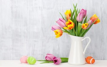 flowers, tulips, easter, eggs, decoration, spring, pink, happy, the painted eggs, pink tulips