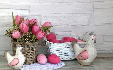 flowers, tulips, pink, easter, eggs, decoration, spring, happy, the painted eggs