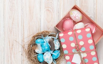 easter, wood, eggs, decoration, spring, happy, the painted eggs