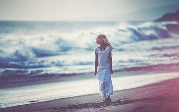 берег, пляж, дети, девочка, ребенок, прибой, edie layland, dreaming