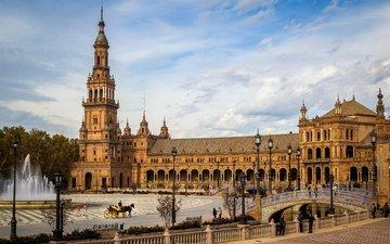 деревья, фонари, мост, канал, фонтан, дворец, испания, площадь, plaza de españa, sevilla