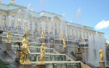 небо, лето, россия, дворец, санкт-петербург, скульптуры, фонтаны, петергоф