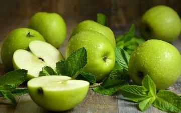 мята, макро, фон, фрукты, яблоки, зеленые