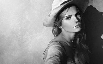 арт, рисунок, фон, портрет, чёрно-белое, шляпа, эмма уотсон