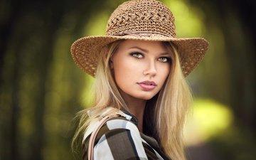 девушка, блондинка, портрет, взгляд, волосы, лицо, шляпка, ева, lods franck, ева микульски