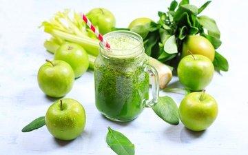 зелень, напиток, еда, яблоки, кружка, водопой, сок, сельдерей, фреш, парное, эппл