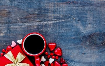 coffee, candy, heart, love, gift, chocolate, romantic, valentine's day