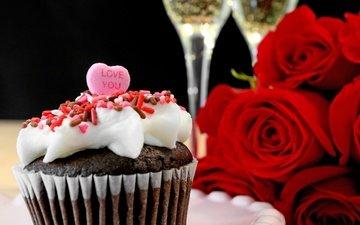 розы, сердце, любовь, романтик, шампанское, день святого валентина, кекс, роз, влюбленная, капкейк, сердечка, valentine`s day, романтичный