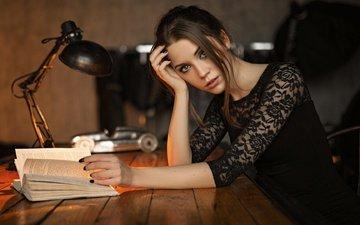 girl, portrait, brunette, table, model, photographer, lips, green eyes, mouth, book, kseniya kokoreva, black nails, ksenia kokoreva, sergey fat