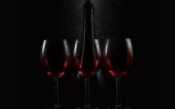 фон, черный, вино, стекло, бутылка, бокалы, краcный, красное, блака, cтекло