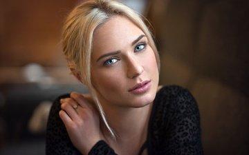 девушка, блондинка, портрет, модель, фотограф, губы, лицо, голубые глаза, рот, lods franck, ева микульски