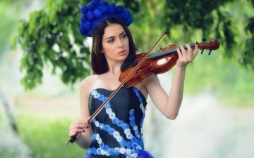 girl, dress, violin, model, almis misca