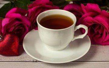 цветы, розы, сердце, любовь, букет, чай, романтик, день святого валентина, роз, влюбленная, сердечка, valentine`s day