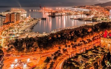 испания, гавань, гавани, андалузия, малага, night malaga