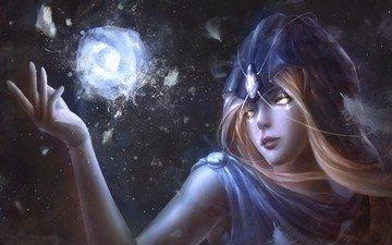 арт, девушка, фантастика, взгляд, волосы, лицо, магия, волшебница