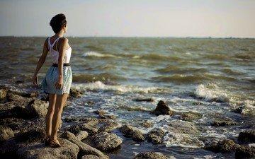 девушка, настроение, море, брюнетка, модель, сарафан