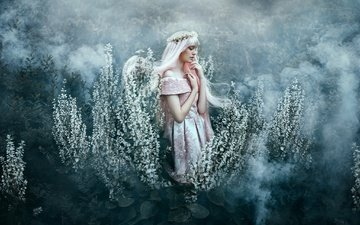 flowers, nature, girl, mood, dress, blonde, fog, fantasy, fairy, spring, hair, magic, wreath, bella kotak, fog. flowers, magic fantasy, under your spell