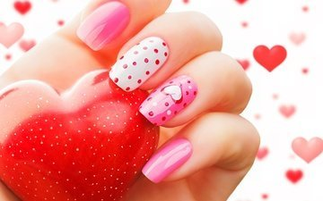 рука, сердце, любовь, романтик, день святого валентина, маникюр, влюбленная, сердечка, valentine`s day