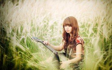 трава, девушка, гитара, музыка, азиатка