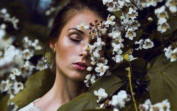 девушка, портрет, взгляд, модель, весна, веснушки, николь, закрытые глаза