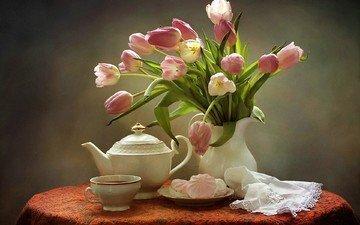 букет, тюльпаны, чай, чайник, зефир, натюрморт