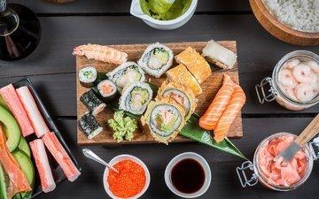рыба, икра, соус, суши, роллы, авокадо, креветки, лосось, имбирь