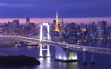 the city, japan, island, tokyo, rainbow bridge, tokyo bay