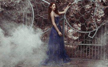 девушка, платье, взгляд, волосы, лицо, рыжеволосая, michalina cysarz
