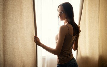 curtains, brunette, model, window, long hair, sergey fat, ksenia alekseevskaya