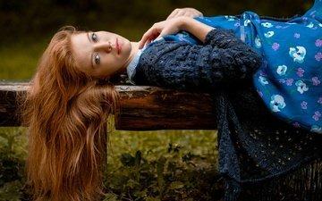 девушка, поза, взгляд, волосы, лицо, рыжеволосая