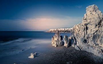 небо, скалы, берег, море