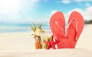 солнце, море, песок, пляж, лето, коктейль, морская звезда, ананас, песка, мохито, seashells, каникулы, сланцы, летнее