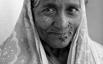 люди, взгляд, чёрно-белое, лицо, женщина, бабушка