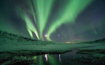небо, ночь, вода, снег, отражение, пейзаж, северное сияние
