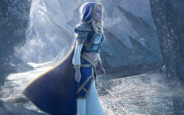 warcraft, hood, world of warcraft, blonde, cosplay, armor, girl, game, jaina proudmoore