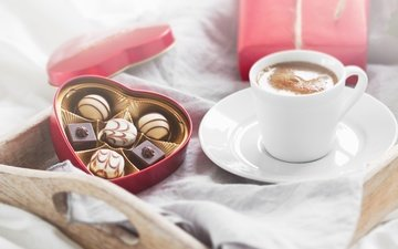 coffee, candy, love, romance, breakfast, gift, chocolate, valentine's day