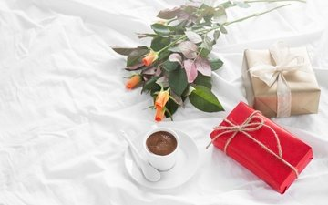 roses, coffee, breakfast, gift, romantic, love, valentine's day