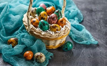easter, basket, the painted eggs