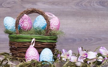 flowers, easter, basket, the painted eggs