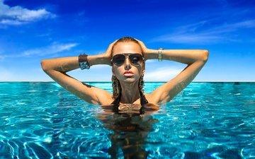 вода, украшения, девушка, модель, макияж, мокрая, солнцезащитные очки