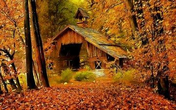 арт, рисунок, деревья, лес, осень, дом, опадают, осен