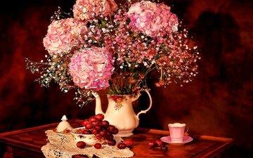 цветы, арт, рисунок, виноград, букет, чашка, посуда, натюрморт, гортензия