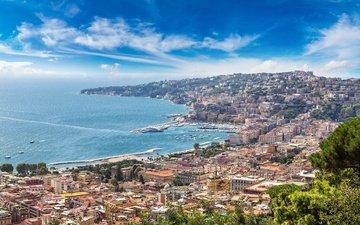 города, панорама, город, побережье, италия, путешествия, европа, взляд, неаполь, берег моря, cityscape, сорренто